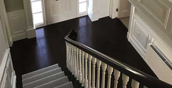 PAINTED STAIRS WITH MAHOGANY NEWEL POSTS